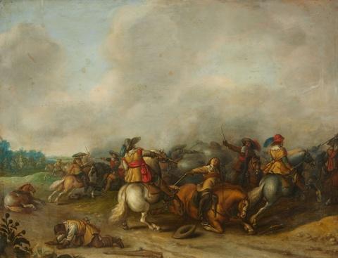 Palamedes Palamedesz. - Reitergefecht in einer weiten Landschaft