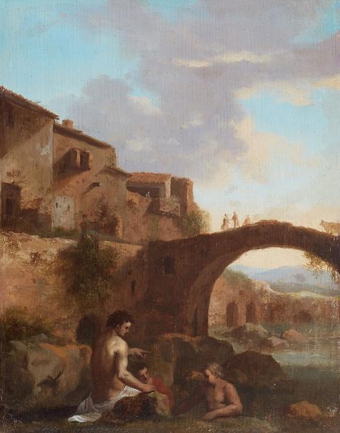 Cornelis van Poelenburgh, in der Art - Badende an einem Fluss vor dörflicher Kulisse