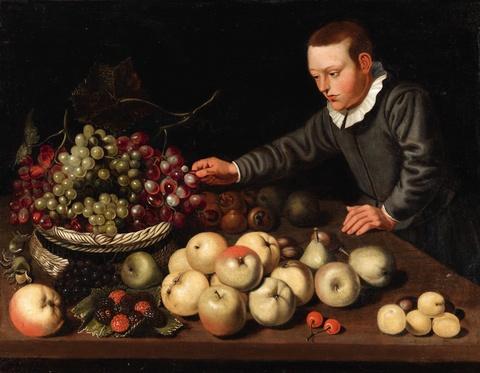 Floris van Schooten - A Fruit Still Life with a Boy