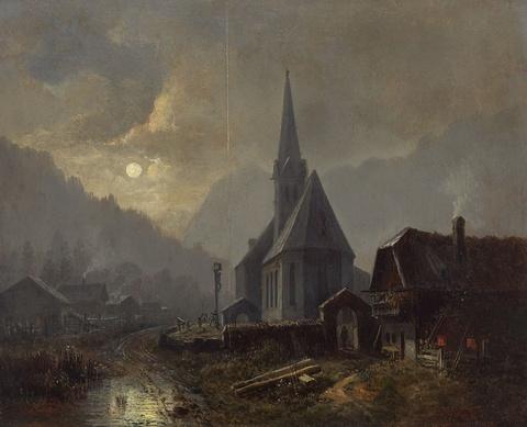 Heinrich Bürkel - Kirche in der Ramsau bei Mondschein