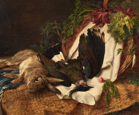 Ludwig Gedlek - Still Life with a Rabbit and a Lapwing