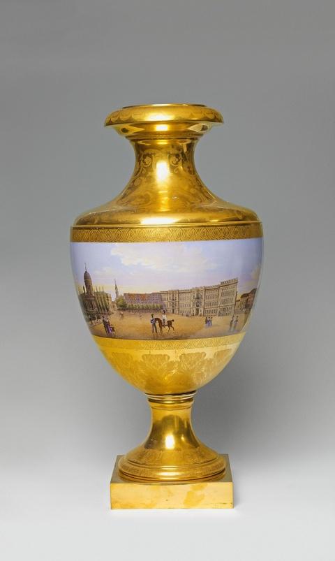 Vase mit Panoramaansicht des Lustgartens -