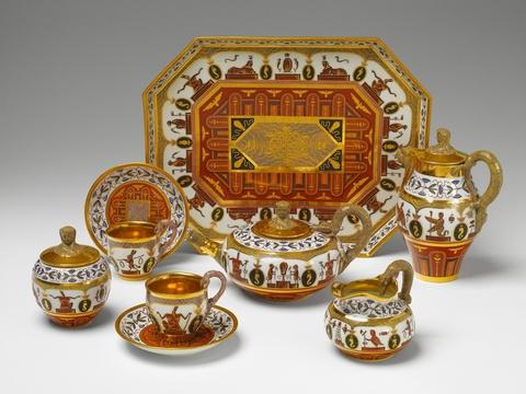 Seltenes Tête-à-tête mit ägyptischen Dekoren -
