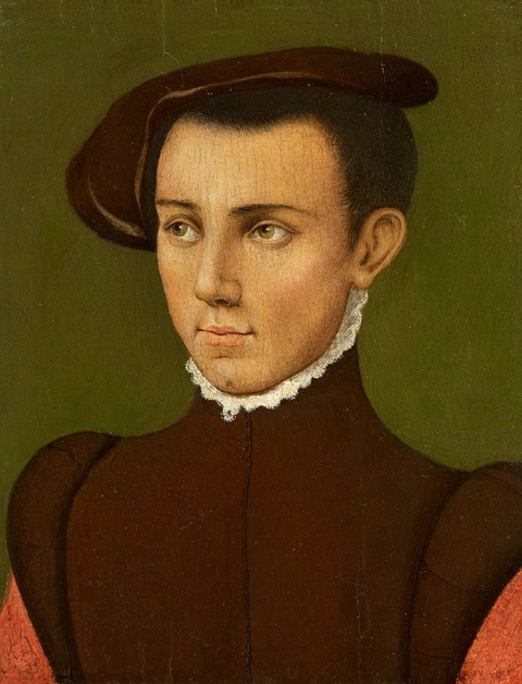 Netherlandish School of the 16th century - Young Man in a Brown Beret before a Dark Background