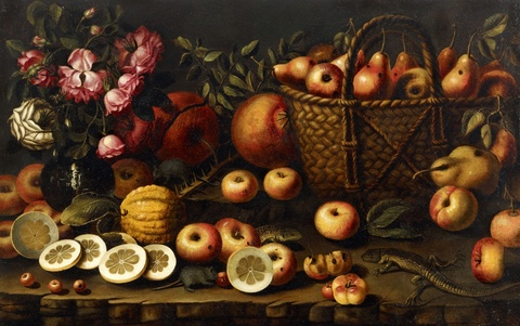Spanish School of the early 17th century - Still Life with Roses, Fruit and a Lizard