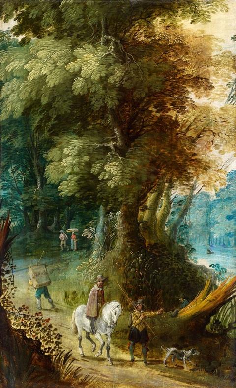 David Vinckboons, zugeschrieben - Waldlandschaft mit Reisenden