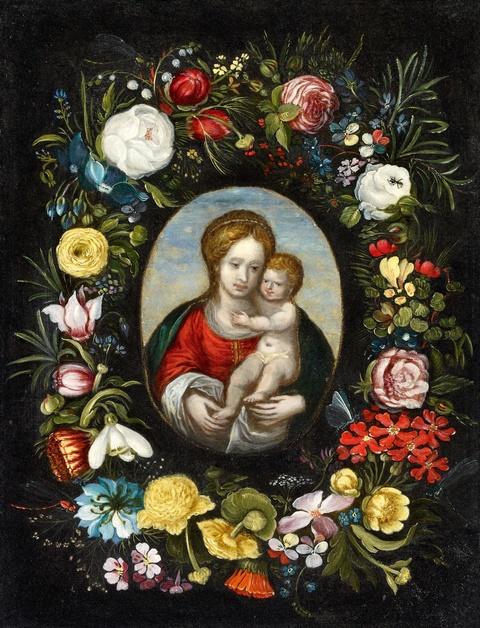 Jan Brueghel d. J., zugeschrieben - Blumenkranz mit Madonna und Jesuskind im Medaillon