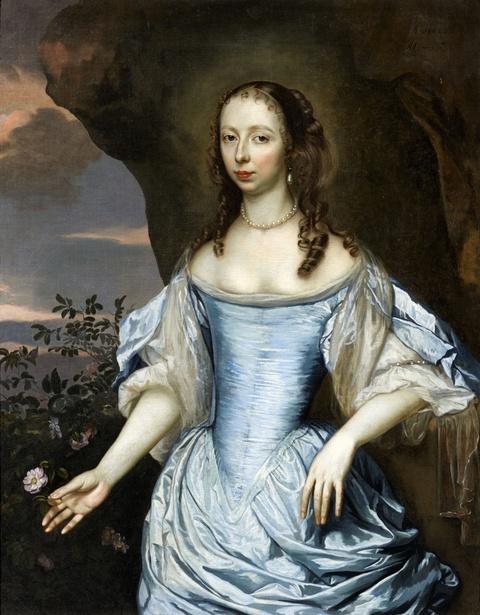 Jan Mijtens - Bildnis einer Dame in blauem Kleid