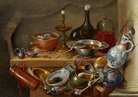 Jan van Kessel the Elder - Still Life with Kitchenwares, a Candle and a Bottle