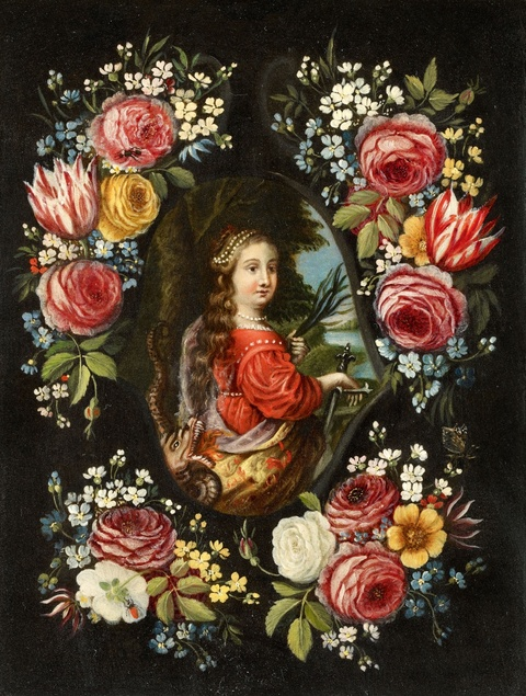 Jan van Kessel the Elder and studio - Flowers before a Stone Relief of Saint Martha of Bethany