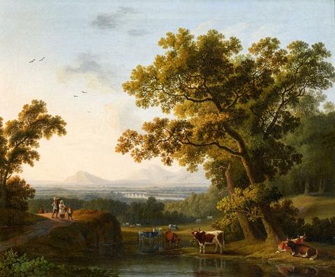 Jacob Philipp Hackert - Italienische Flusslandschaft mit einem Blick auf das Tibertal nördlich von Rom