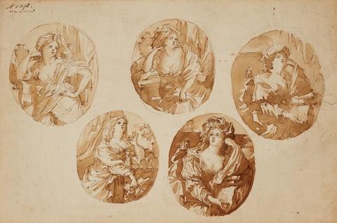 Bologneser Meister des 17. Jahrhunderts - Fünf Darstellungen einer Sybille