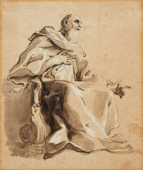 Giovanni Antonio Pellegrini, attributed to - A Seated Prophet