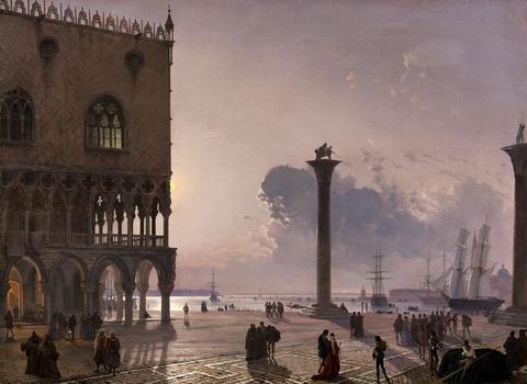 Friedrich Nerly - Piazzetta di San Marco bei Mondschein