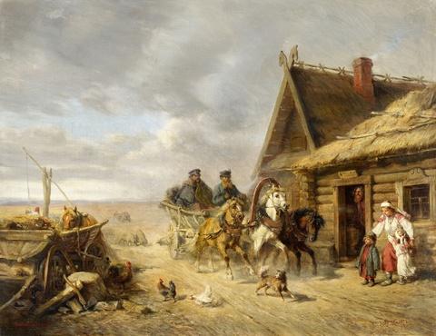 Wilhelm Amandus Beer - Russische Bauernszene mit vorbeirasender Troika