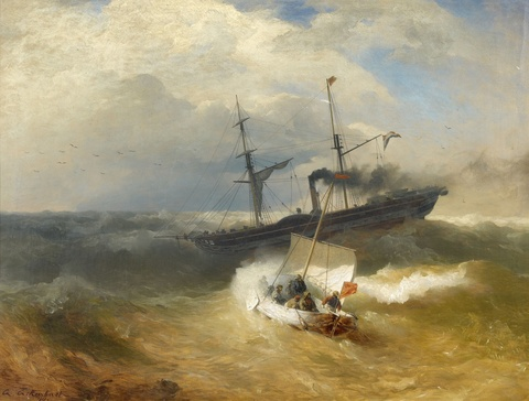 Andreas Achenbach - Steam Ship and Sailing Boat in Rough Seas