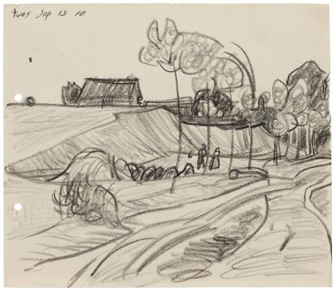 Lyonel Feininger - Ohne Titel (Figuren in Landschaft, Neppermin)