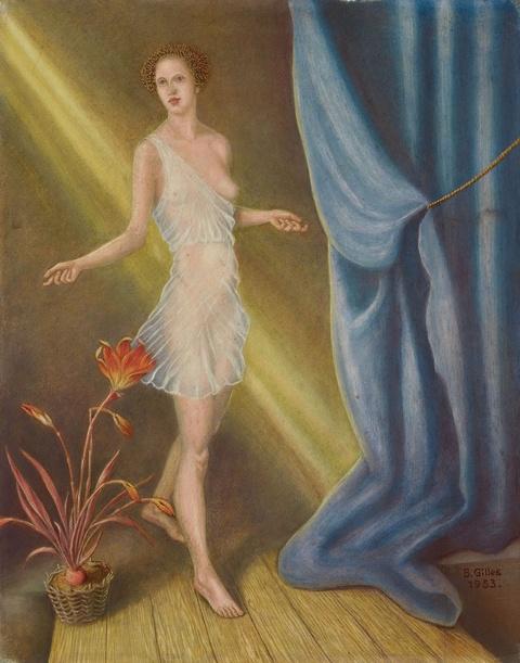 Barthel Gilles - Mädchenakt mit Blume