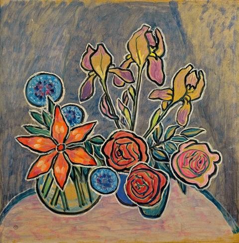 Gabriele Münter - Stilleben mit Rosen und Iris
