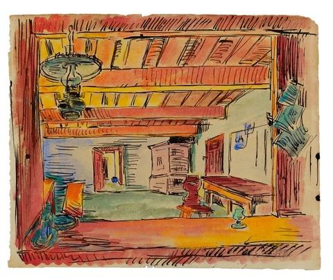 Hermann Max Pechstein - Interieur/Kneipenraum. Verso: Zwei Boote (Flundernfischerei)