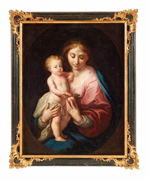 South German or Austrian School, 18th century - The Virgin and Child in a painted Oval