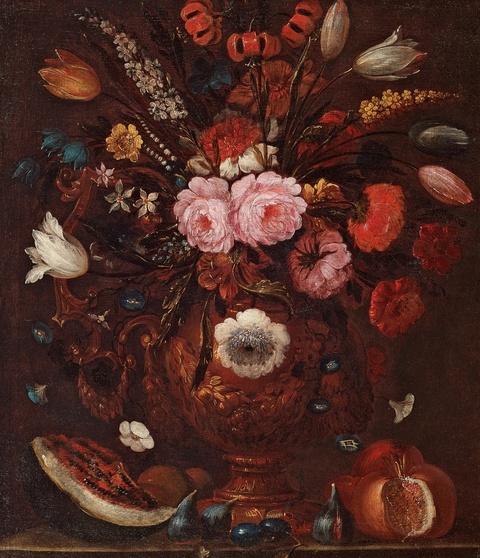 Italienischer Meister des 17. Jahrhunderts - Stillleben mit Blumen und Früchten