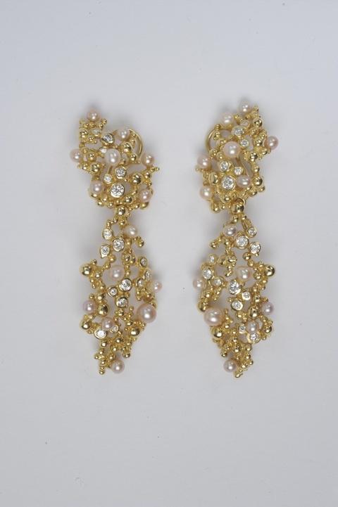 Paar Ohrgehänge mit Perlen und Diamanten -