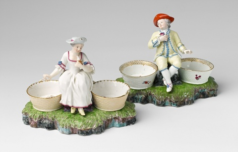 Two Höchst porcelain condiment jars with figures -