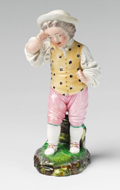 A Höchst porcelain figure of an angered boy -