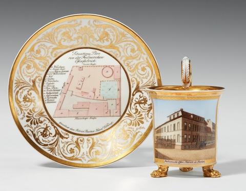 Bedeutende Berliner Tasse mit der Ansicht von Feilners Ofenfabrik -
