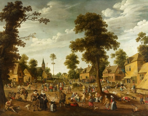 Joost Cornelisz. Droochsloot - Peasant Festival in a Village Square
