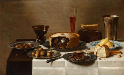 Floris van Schooten - Still Life with Sweetmeat, Bread, Nuts, and Vessels