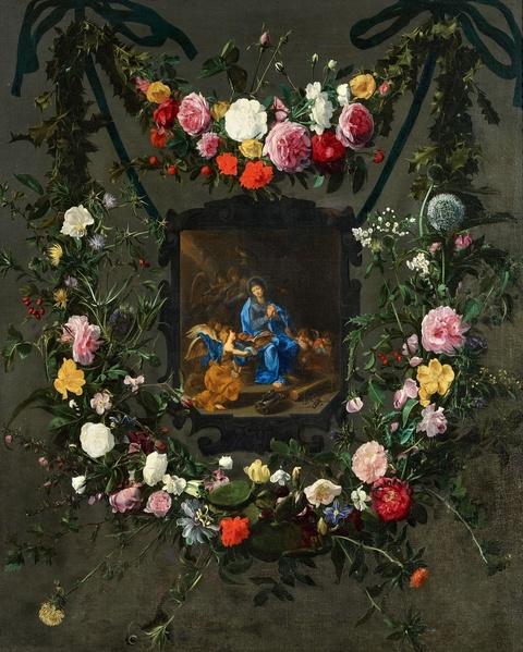 Daniel Seghers Simon de Vos - Blumengirlande um ein Medaillon
