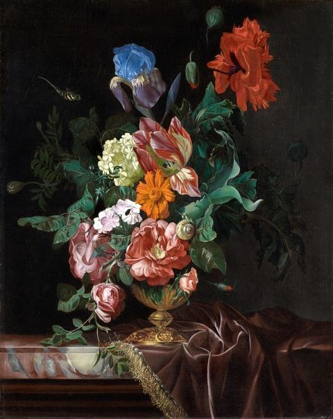Nicolaes Lachtropius - Stillleben mit Blumenvase und Insekten
