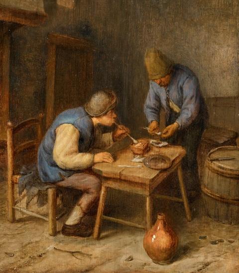 Netherlandish School, 17th century - Interior Scene with Peasants Smoking