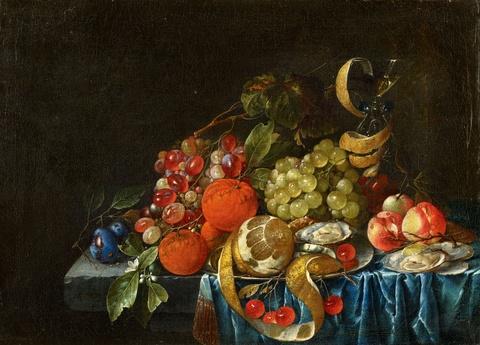 Cornelis de Heem - Früchtestillleben mit Austern und Weinglas