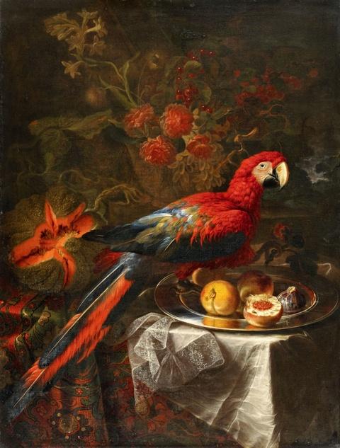 Gabriello Salci - Früchtestillleben mit Papagei