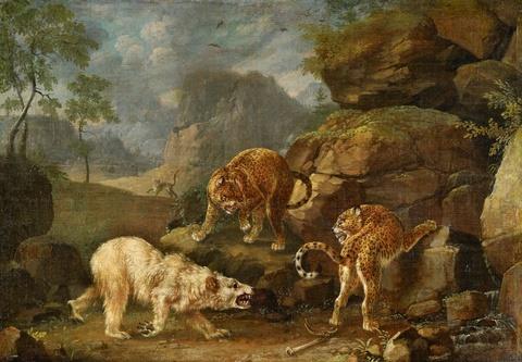 Johann Elias Ridinger - Two Leopards Attacking a Polar Bear