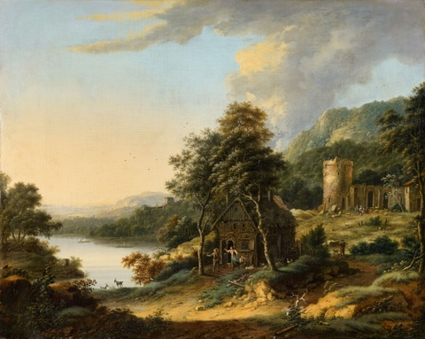 Johann Christian Vollerdt - Wooded River Landscape with a Farmhouse and Ruins