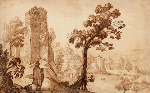 Remigio Cantagallina - Südliche Stadtansicht mit Turmruine und Zeichnenden