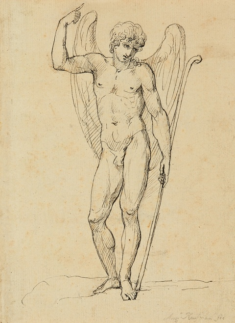 Angelika Kauffmann, attributed to - A Standing Angel Verso: Hercules and Venus