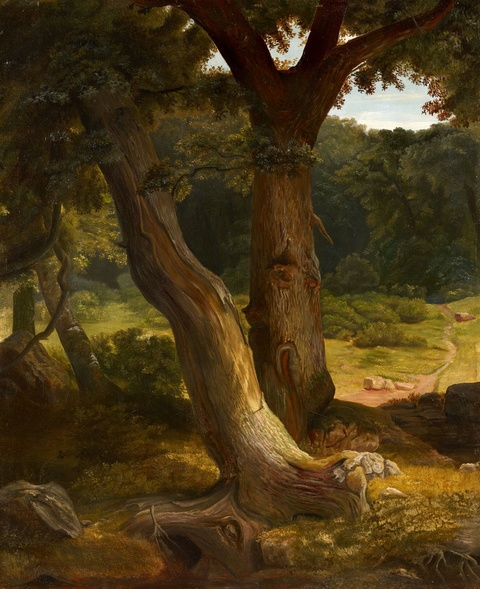 """Carl Friedrich Lessing - Studies for the work """"Eichenwald mit einem an einem Brunnen rastenden Ritter"""""""