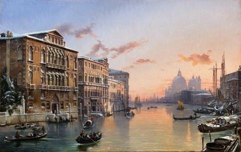 Friedrich Nerly - Winteransicht auf den Canal Grande und Santa Maria della Salute