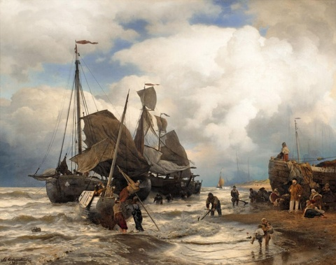 Andreas Achenbach - Sailing Boats Landing on a Beach