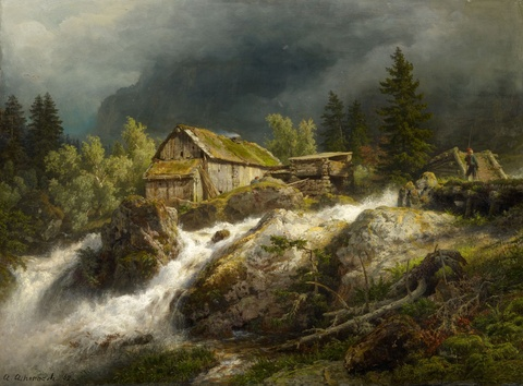 Andreas Achenbach - Northern Mountain Landscape with a Stream
