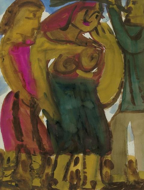 H.A.P Grieshaber - Figürliche Szene mit Bläser