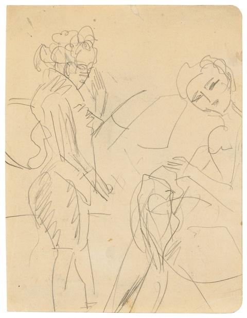 Ernst Ludwig Kirchner - Untitled (Stehende Frau und nähendes Mädchen)