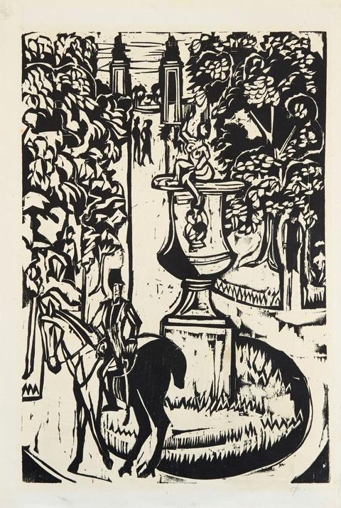 Ernst Ludwig Kirchner - Hauptallee im grossen Garten, Dresden. Verso: Mutter und Sohn (Probedruck)