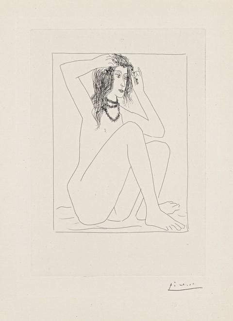 Pablo Picasso - Femme nue se couronnant de Fleurs