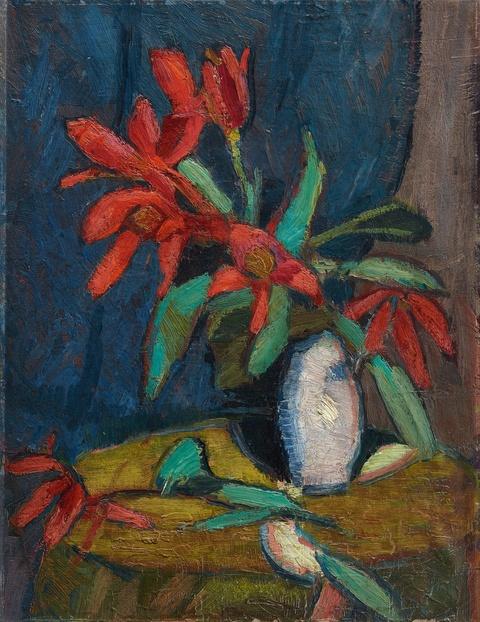 Hermann Stenner - Rote Blumen in weißem Krug